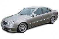 Mercedes Benz E-Klasse W211 mit Airmatic Tieferlegungskit und RH Crossline mehrteilig poliert