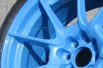 Detail Pulverbeschichtung Himmelblau